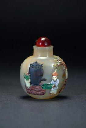 An Agate Embellished Figure Snuff Bottle