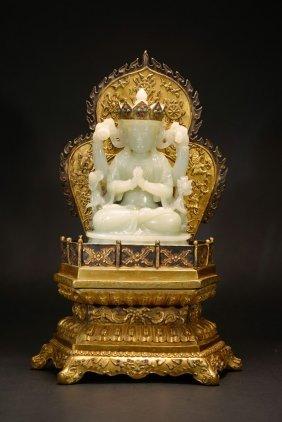 A White Jade Bodhisattva With Gilt-bronze Stand