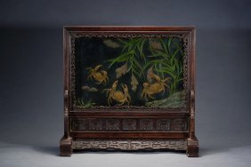 A Rosewood Jade Embellished 'crab' Table Screen
