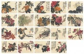 Wu Changshuo: An Album Of Nineteen Flowers Paintings On