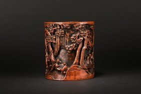 A Bamboo Carved 'figures' Brushpot