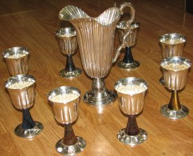 BUCCELLATI STERLING SILVER   PITCHER & 8 GOBLETS