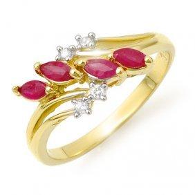 Genuine 0.40 Ctw Ruby & Diamond Ring 10K Yellow Gold