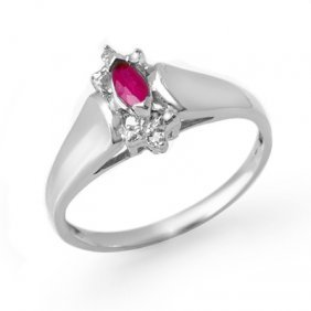 Genuine 0.22 Ctw Ruby & Diamond Ring 10K White Gold