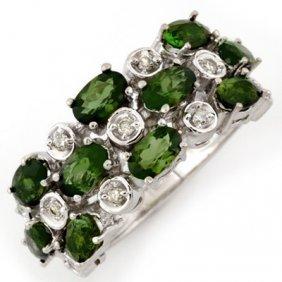 Genuine 3.2 Ctw Green Tourmaline & Diamond Ring Gold