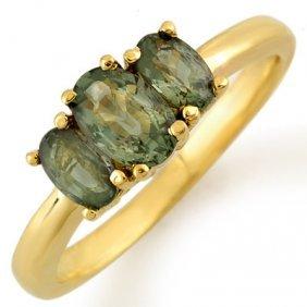 Genuine 1.18 Ctw Green Sapphire Ring 10K Yellow Gold