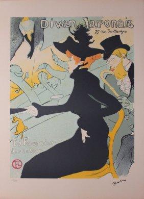 Toulouse lautrec colored lithograph plate signed lot 9348a for Divan japonais poster value