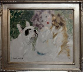 "Louis Icart ""woman With Dogs"" Original Oil Painting"
