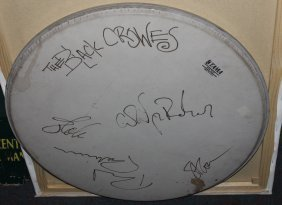 Black Crowes Autographed Drum Head