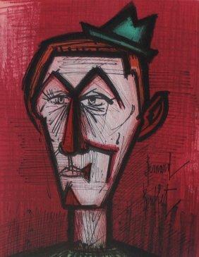 """Bernard Buffet """"clown On A Red Background"""""""
