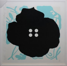 "Donald Sultan ""button Flower Aqua"""