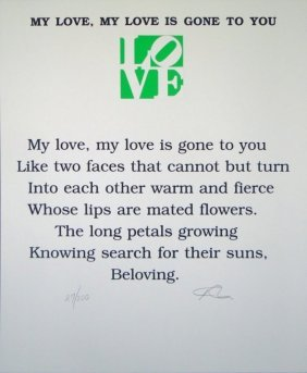 """Robert Indiana """"my Love, My Love Is Gone To You"""""""
