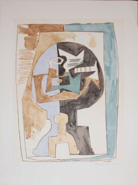 """Pablo Picasso """"gueridon Et Guitare"""" (signed By Marina)"""