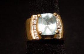 14kyg Aquamarine And Diamond Ring