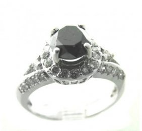 Black/white Diamond Ring 2.18ct 14k White Gold