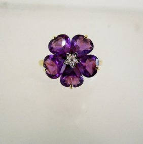 Natural Amethyst Diamond Ring 6.28ct 14k Y/g