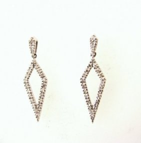 Diamond Earrings Dangle .46 Carat 14k W/g