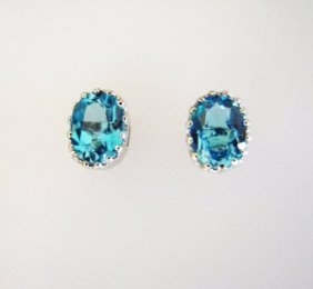 Swiss Blue Topaz Stud Earrings 4.45ct 18k W/g Overlay