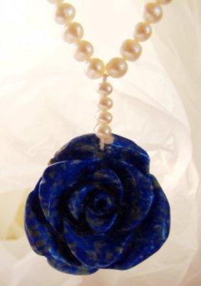 Elegant Pearl Necklace Flower Lapis Pendant