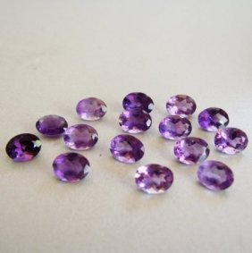 Lot Natural Amethyst Oval Shape 15 Pcs 15.64ct