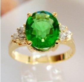 Green Tsavorite Ring: 2.15ct Diamond: .30ct 14ky/g