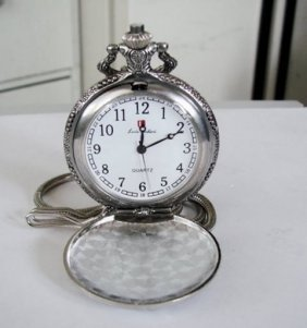 "Pocket Watch Quartz Stainless 14"" Chain"