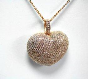 Creation Diamond/ Heart Pendant 2.51ct 18k R/g Overlay