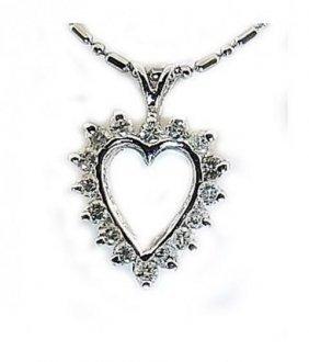 Heart Diamond Pendant .75ct 14k White Gold