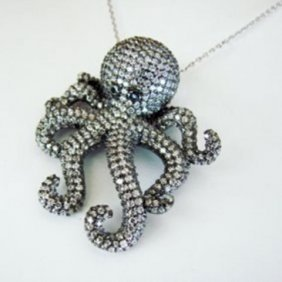 Creation Diamond Octopus Pendant 4.56ct 18k B/g Overlay