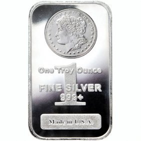 1 Oz Morgan Design Silver Bar .999 Fine