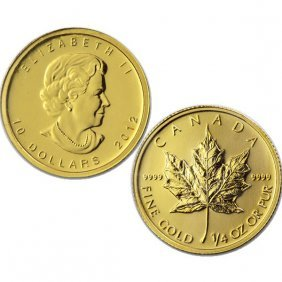 1/4 Oz BU 24k Gold Canadian Maple Leaf - Random Date!