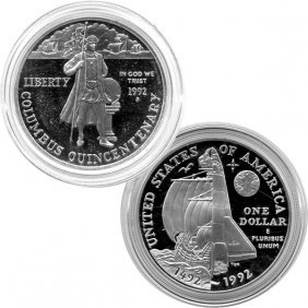 1992-P Columbus Quincentenary Proof Silver Dollar
