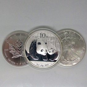3-Coin Set: Silver Maple Leafe, Eagle & Panda - Unc