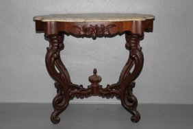 Narrow Victorian Carved Walnut Marbletop Table