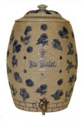 6 Gallon Stoneware Ice Water Cooler - Cobalt Decoration