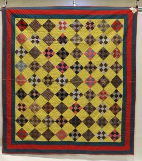 Pennsylvania 1892 Id'd Quilter 9-patch Quilt
