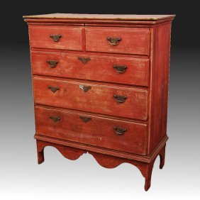 Mid-19th C Red Painted Country Pine Chest