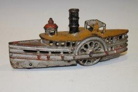 Cast Iron Steam Paddle Wheel River Boat - 19th C