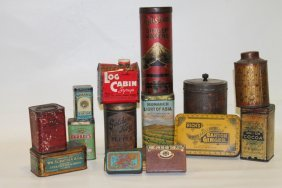 Lot Of 15 Misc Early Tins - Spices, Cocoa, 19th C