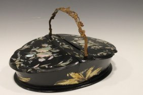 Victorian Lacquered Papier Mache Sewing Box