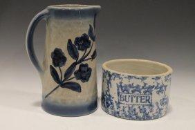 Blue Stoneware Pitcher & Butter Crock