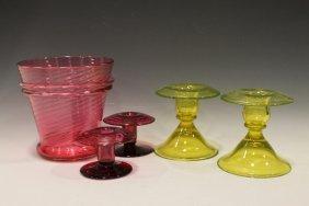 Group Of Art Glass - Cranberry & Vaseline