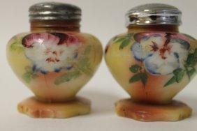 Victorian Fostoria Glass Co. Heart Shaped Salt Shakers