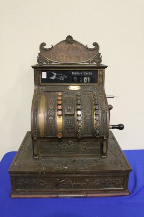 19th C National Brass Cash Register w/ Marquee