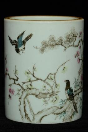 $1 Chinese Porcelain Brush Pot 18th C