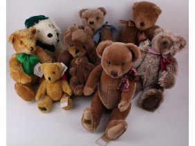 Seven Modern Teddy Bears And A Dog Including Four B