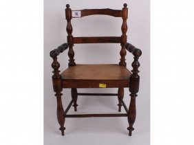 A Small Antique Chair Suitable For A Doll, Having N