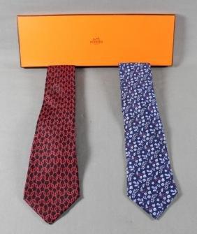 Pair Of Hermes Silk Scarves