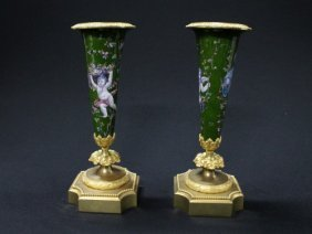 Pair Of Painted Limoges Vases Featuring Putti With F