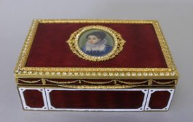 FRENCH ENAMEL BOX WITH PORTRAIT ON IVORY JEWELLED